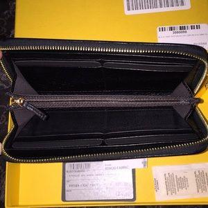 Fendi Bags - FENDI Zucca Black Fabric Foglio Con Lampo Wallet